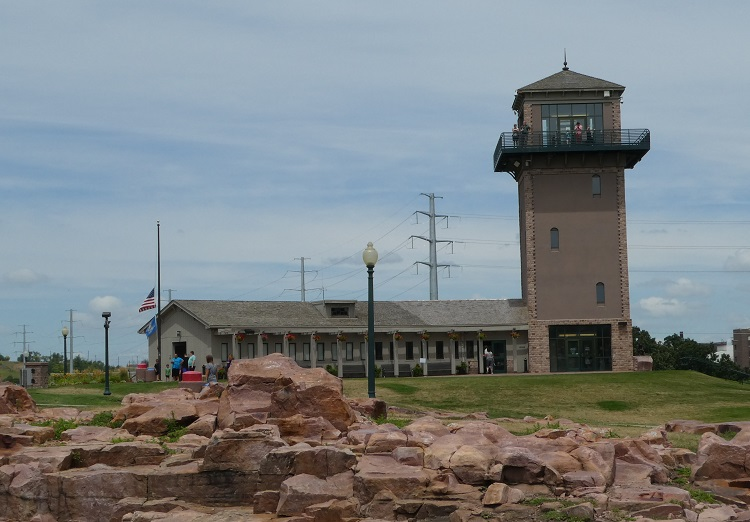 The Falls Park Visitor Center and Observation Tower are one of many free things to do in Sioux Falls, SD