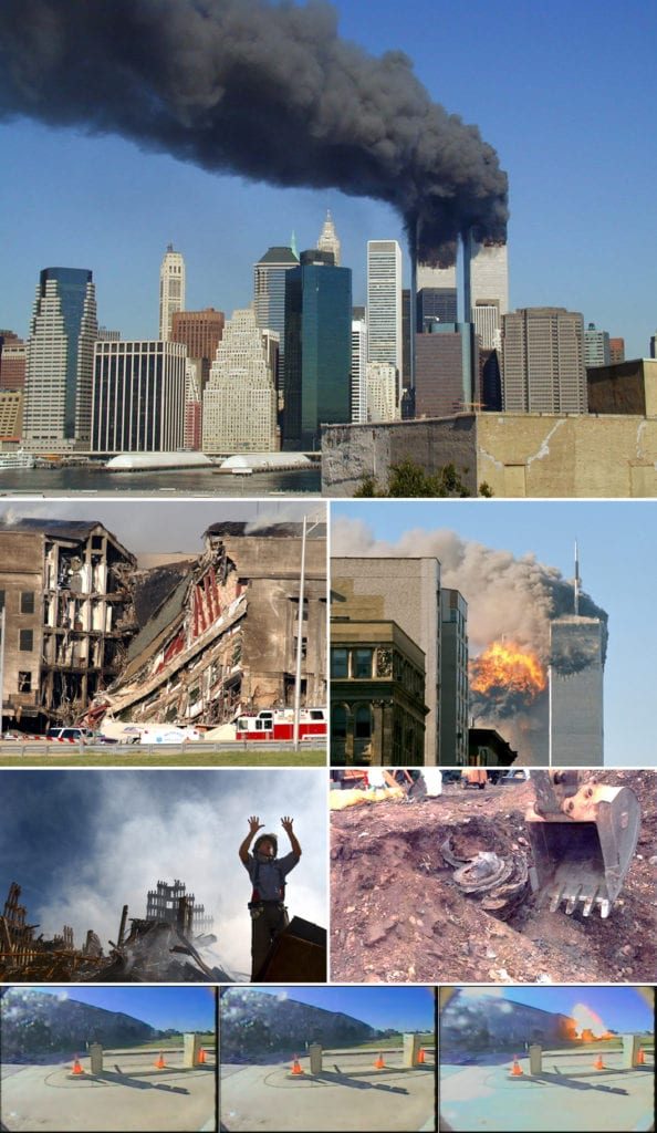 """September 11 Photo Montage"" by UpstateNYer - Own work; derivative work of the following:WTC smoking on 9-11.jpegby Michael Foran on FlickrDN-SD-03-11451.JPEGby the United State NavyUA Flight 175 hits WTC...by TheMachineStops on FlickrWTC-Fireman requests 1...by the US GovernmentFlight93Engine.jpgby the US GovernmentVideo2 flight77 pentag...by the United States Department of Defense. Licensed under CC BY-SA 3.0 via Commons - https://commons.wikimedia.org/wiki/File:September_11_Photo_Montage.jpg#/media/File:September_11_Photo_Montage.jpg"