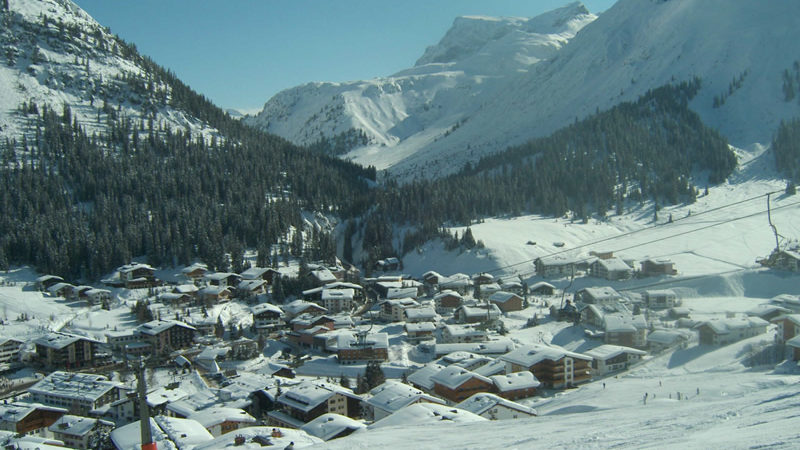 Skiing in Europe at Lech in the Austrian Alps.