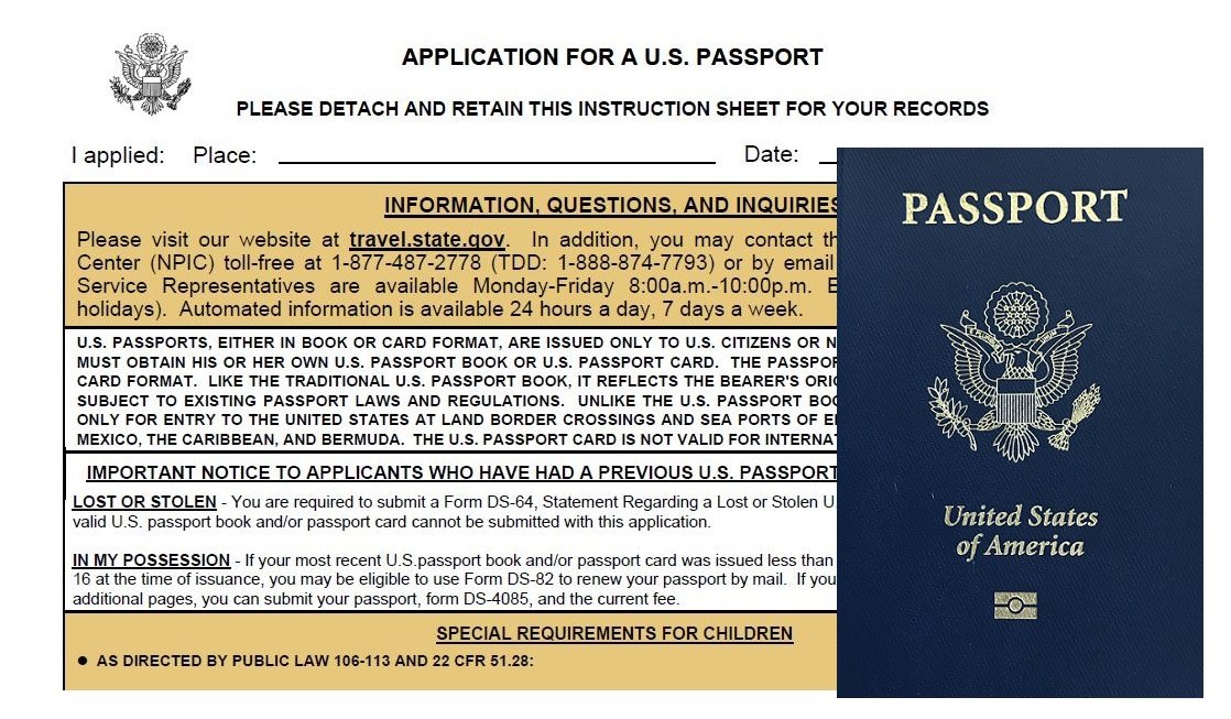 screenshot of online US passport application to complete when getting a passport for kids