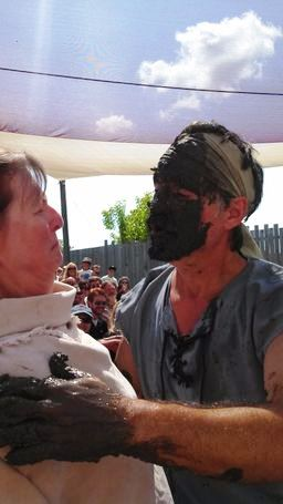 Getting kissed at the Mud Show at Bristol Renaissance Faire.