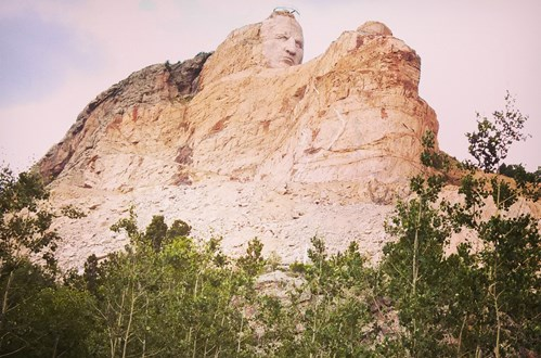 This monument to Native American Chief Crazy Horse is a work in progress.