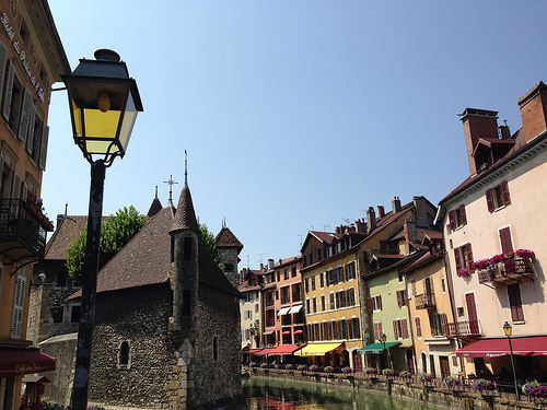 French Alps: Blue Lake, Famous Castle and Tall Mountain