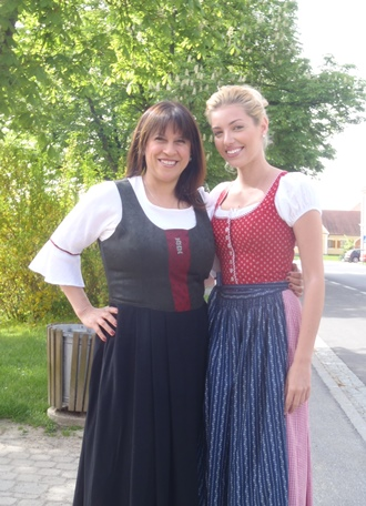 Writer Fran Capo and her friend, actress and singer Dalal Bruchmann in traditional Austrian garb.