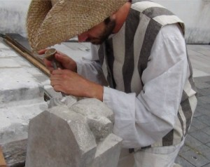 Stone carver at New France Festival