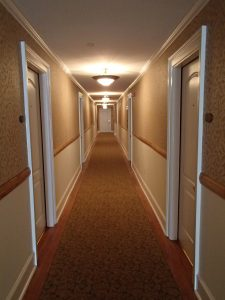 The famed hallway at the Stanley. Hotel