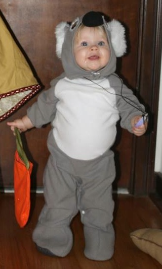 Koala Costume, just one of the travel-themed creative Halloween costumes you can make for kids.