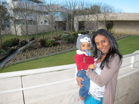 mom with baby at Getty Museum in Los Angeles