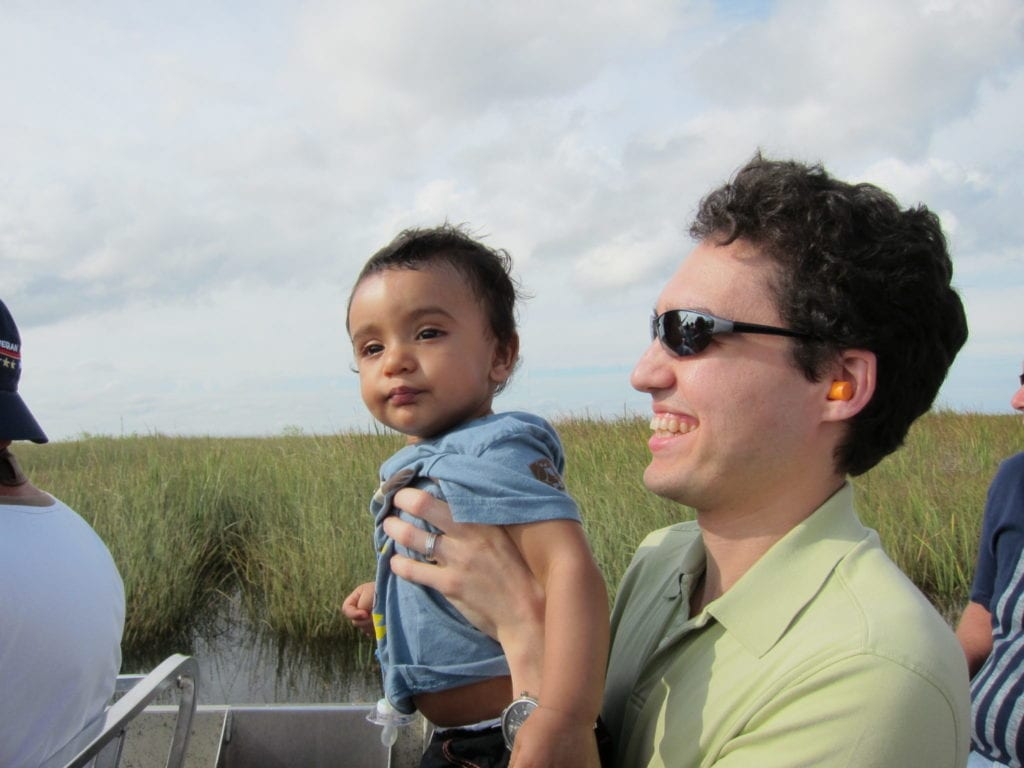 Hiking with a baby at a Everglades National Park.