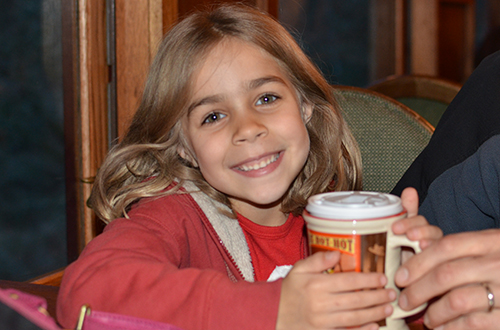 Drinking hot chocolate onboard the Polar Express