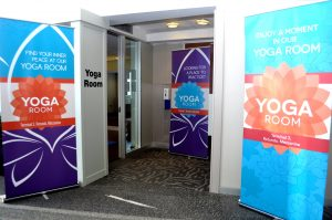Family-friendly yoga room has opened in Chicago's O'Hare Airport.