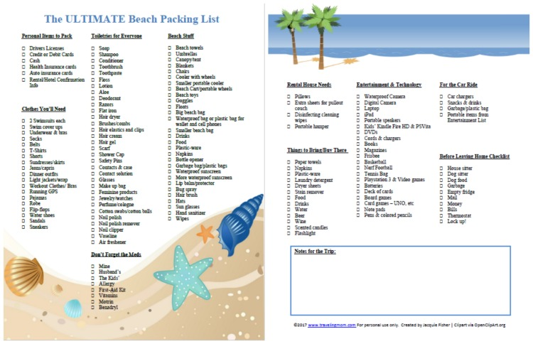 the ultimate family beach vacation packing list and printable