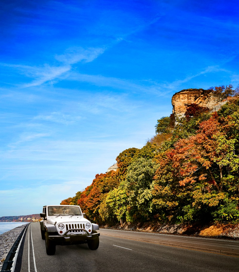 Drive along the Great River Road to see the firey fall colors of the Midwest.