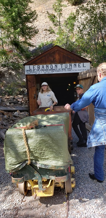 Getting ready to enter the Lebanon Mine Tour in Georgetown, Colorado