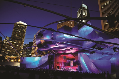 Chicago offers free concerts all summer at the Pritzker Pavillion in Millennium Park. Photo credit: City of Chicago