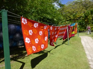 Photo by Jamie Bartosch/Suburban TravelingMom Some freshly made batik prints hang-dry in St. Kitts.