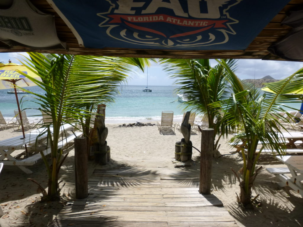 Photo by Jamie Bartosch/Suburban TravelingMom The entrance to Reggae Beach, one of the many beautiful, family-friendly beaches on St. Kitts.