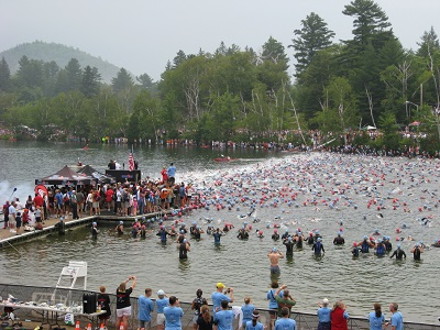 Swim start at Ironman Lake Placid in NY. Photo credit: Sherry Wernicke / Triathlon TravelingMom