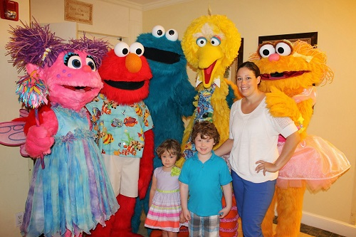 My kids and I meeting the Sesame Street Characters at Beaches Turks and Caicos.