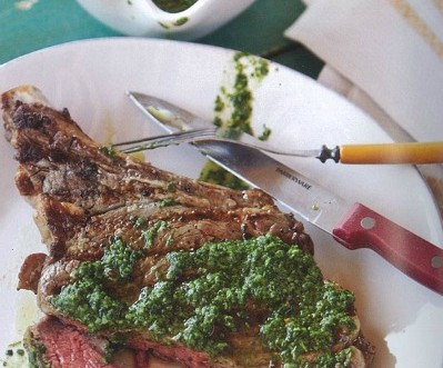 Grilled Rib Eye Steaks with Rosemary Chimichurri Recipe