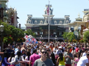 Photo by Jamie Bartosch/Suburban TravelingMom There are always big crowds on the main strip of the Magic Kingdom, so have a plan in place in case someone gets lost.