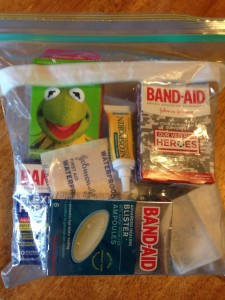 My put together First Aid Kit.  Photo Credit Becky Davenport/Budget TMOM