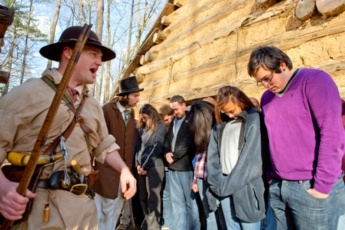 """Slave traders"" get the ""slaves"" in line. Photo courtesy of Conner Prairie"