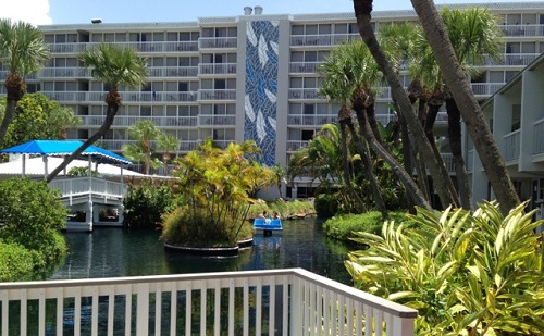 The TradeWinds lagoon, which winds through the property, offers paddleboat tours. Photo credit: Scotty Reiss / Driving TravelingMom