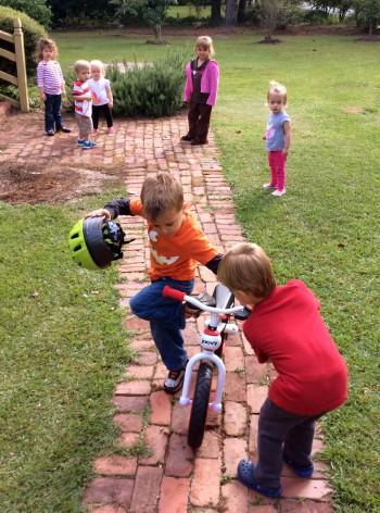 Waiting for a turn on the balance bike. Photo by BlendedFamily TMOM Christine Tibbetts