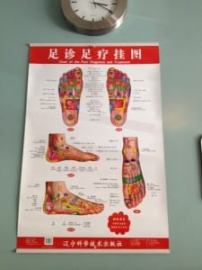 Chinese foot spa map of your feet (photo Sarah Ricks)