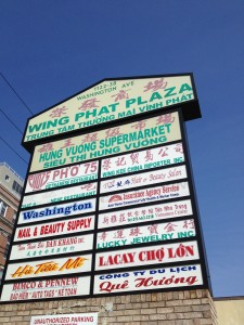 Vietnamese and Chinese stores at a South Philly strip mall