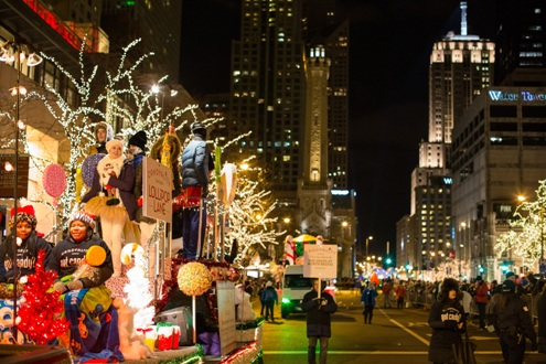 Chicago's annual holiday lights parade. Photo by Adam Alexander