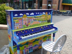 Many art pianos open for playing in downtown Fort Collins. Photo by Blended Family TMOM Christine Tibbetts