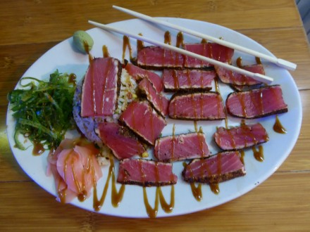 Ahi tuna a spectacular dinner at Back Porch Oyster Bar. Photo by GW Tibbetts