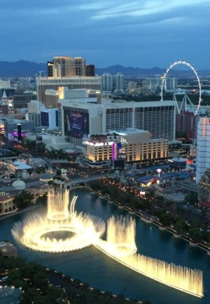 A view of the Bellagio fountains from our room at the Cosmopolitan. Photo credit: Gwen Kleist, Healthy TravelingMom.