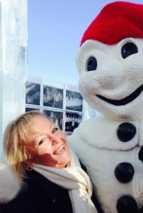 Terri Marshall headed to Quebec to celebrate Carnaval with Bonhomme, the winter mascot. Photo credit: Terri Marshall / Globetrotting TravelingMom