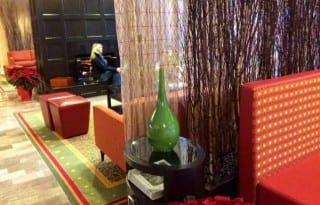 Colors pop in lobby of Ann Arbor Marriott Ypsilanti. Photo by Christine Tibbetts,Blended Family TravelingMom