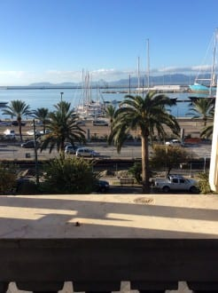 View from Hotel Miramare to the shopping street below, marina, sea and mountains (photo Sarah Ricks)