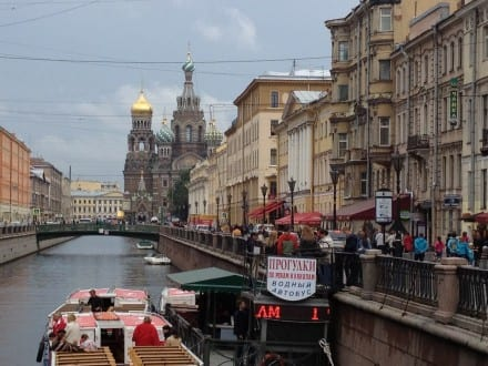 From a boat, view of a Russian church and street life in St. Petersburg (photo Sarah Ricks)