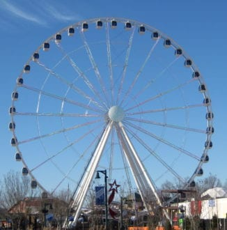 Another Pigeon Forge icon is The Wheel, views from The Island into the mountains. Photo by Christine Tibbetts, Blended Family TravelingMom