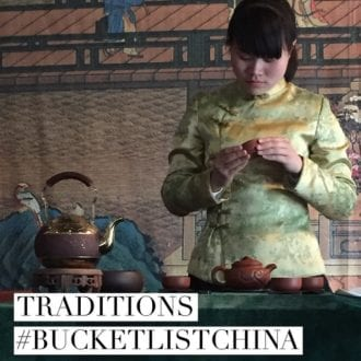A traditional tea ceremony in China.