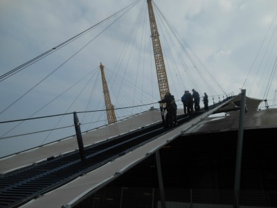 Descending from the top of the O2 Dome