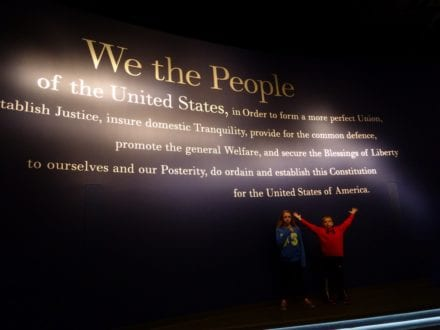 "Photo by Jamie Bartosch/Suburban TravelingMom Learning about ""We the People"" and more at the National Constitution Center in Philadelphia."