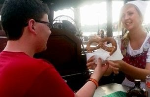 Snacks are always served with a smile in EPCOT's World Showcase. Photo credit: Gwen Kleist, Healthy TravelingMom.
