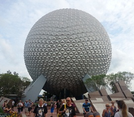 EPCOT's iconic attraction, Spaceship Earth. Photo credit: Gwen Kleist, Healthy TravelingMom.