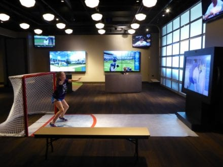 Photo by Jamie Bartosch/Suburban TravelingMom Play sports video games at the Chicago Sports Museum.