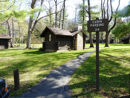Cabins built by the CCC are nestled among the natural wonders of White Pines State Park
