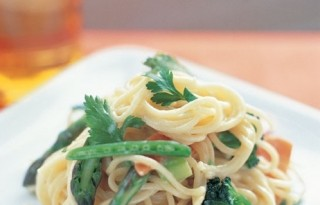 creamy pasta primavera with angel hair and vegetables