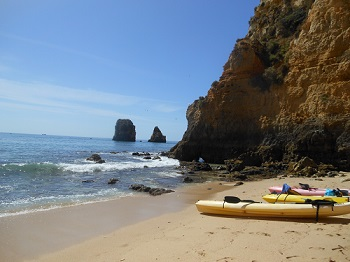 Checking out secluded beaches in Lagos, Spain