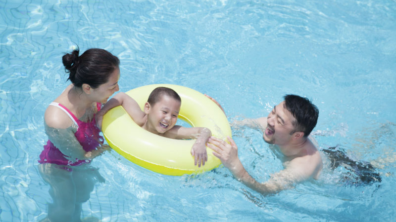 Water safety tip - use floats and stay with kids who can't swim.